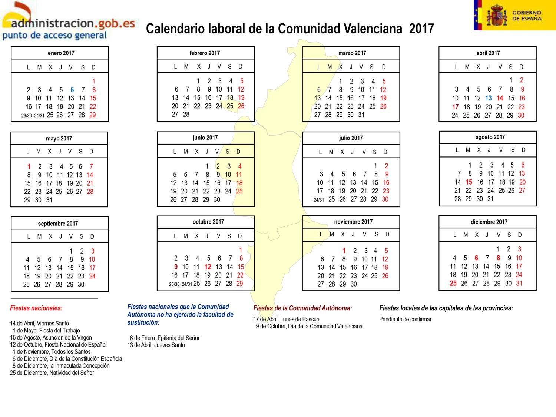 calendario laboral 2017 Comunidad Valenciana Valencia